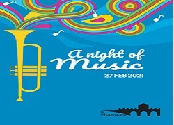 Night of Music poster with a trumpet featured